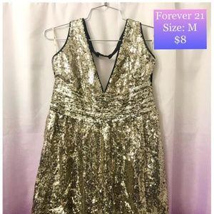 Forever 21 Gold Sequin Halter Dress